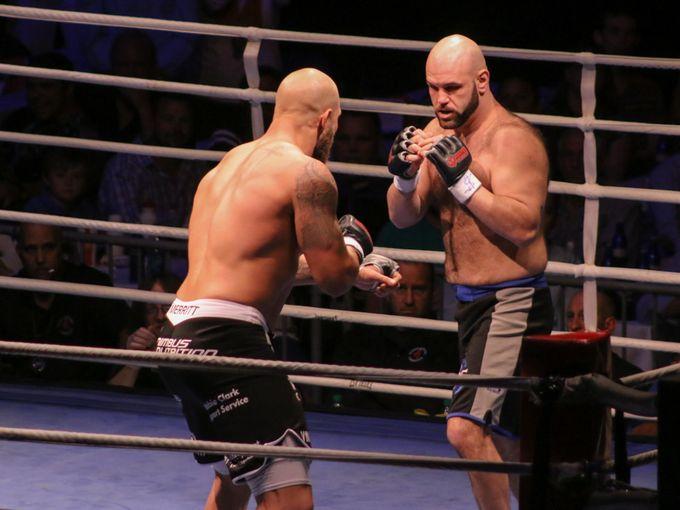 Dakota Merritt, black and white trunks, fights Justin Thornton during Island Fights 30 at the Pensacola Bay Center Saturday night. Merritt won the match.  Jody Link/GoPensacola.com